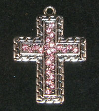 Christian Cross Charm Pink Crystals USA MADE Sterling Silver Plated Pendant