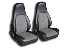 MAZDA MIATA 1990-2000 BLACK/GREY IGGEE S.LEATHER CUSTOM FIT FRONT SEAT COVER