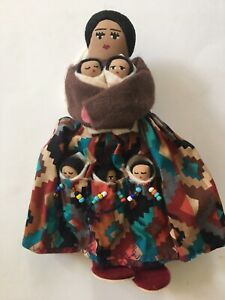 "Vintage Navajo 8.5"" Handmade Cloth Doll with 5 Babies, Signed R. Apacheto"
