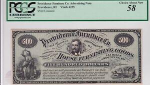 Providence, RI Advertising note Vlack 4235, PCGS 58, Furniture $500