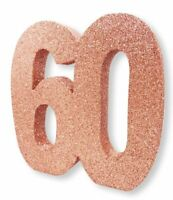 """Rose Gold Glitter Table Decoration 60 Years 8"""" x 8"""" Ladies 60th Birthday Party"""