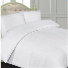 Celebrity 4 Set KING White Striped Thread Fitted Duvet Quilt Cover w/ Pillowcase