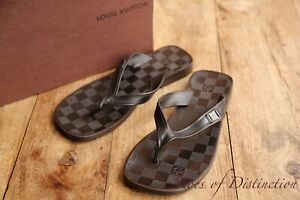 Louis Vuitton Brown Leather Sandals Sliders Flip Flops Shoes UK 5