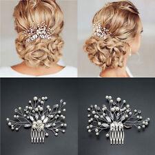 New Bridal Wedding Crystal Pearl Diamante Hair Comb Hair Piece Clip Slide