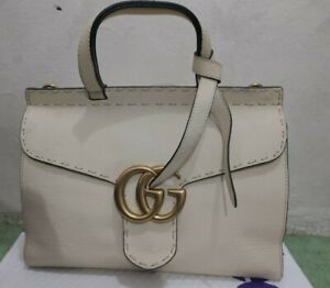GUCCI GG Marmont 421890 - 628649 white Leather Women's Hand bag (Authentic)