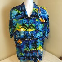 Unbranded Mens Hawaiian Aloha Shirt Jamaica Theme Palms Floral XL Free Shipping!