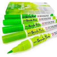 Set Di 5 Reale Talens Ecoline Liquido Acquerello Disegno Pennello Penne - Verde