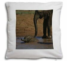 Elephant and Baby Bath Soft Velvet Feel Cushion Cover With Inner Pillo, AE-8-CPW