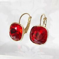 Deep Red Gold Plated Leverback Drop Earrings w/ Cushion Cut Swarovski Crystal