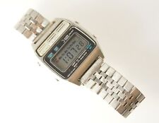 Seiko Men's LCD A134-5009 Vintage Digital Watch Stainless Steel Band Alarm Timer
