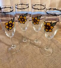Wine Glasses Hand Painted / Sunflower w/ Barbed Wire around Rim / Set of 4