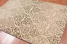 "4'8"" x 6'6"" Handmade Scrolls 100% Wool Area rug Transitional Beige"