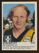 1981 Huttons Sticker Kevin Bartlett Richmond Tigers Rare Number 19 of 42 r