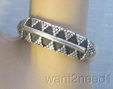 925 sterling silver BAND RING sz 6 carved diamond & granulated dot pattern