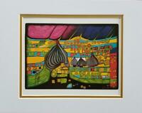 "Friedensreich Hundertwasser ""Yellow Last Will"" Matted Offset Lithograph 1986"