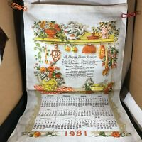 Vintage Cloth Linen Calendar 1981 Happy Home Recipe
