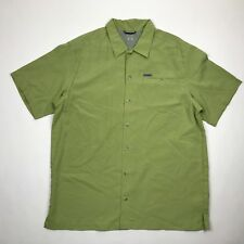 Columbia GRT Men Green Checker Button Front Short Sleeve Outdoor Shirt sz L