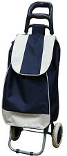 Festival Grocery Shopping Folding Trolley Luggage Bag With Wheels Navy/White NEW