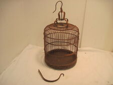 VINTAGE ANTIQUE BAMBOO WOOD HAND CARVED BIRD CAGE SWING BIRD FEEDERS