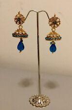Ghazi's Indian Bollywood Kundan Blue Golden Choker Jhumka Earrings In Gift Box