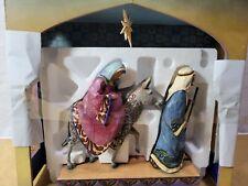 Jim Shore Stable For A King Blue Nativity Creche Enesco & Mary & Joseph 4007985
