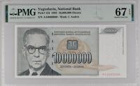 Yugoslavia 10 Million Din 1993 P 122 Nice #0060060 Superb GEM UNC PMG 67 EPQ Top