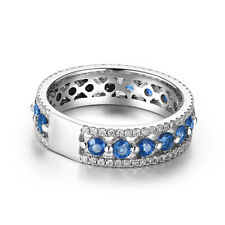 Engagement 1.7ct Diamonds&Bule Sapphires Sterling Silver 925 Gemstone Band Ring