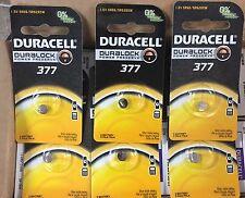 6 X  Duracell Duralock 376 377 Battery 1.5V AG4 SR66 SR6265W Silver Oxide Watch