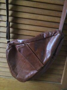 Vintage 1970s/1980s Brown Leather Messenger Bag Cross Body