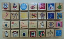 Lot / set of 28 unbranded Christmas Holiday wood stamps snowman santa penguin