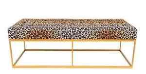 Stunning Velvet Leopard Print Fabric Bench with Gold Iron Legs