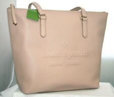 New Kate Spade Penny Larchmont Avenue Logo Pink Pebbled Leather Tote Bag