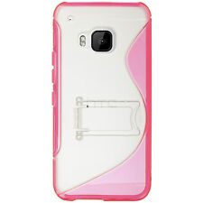 For HTC One M9 TPU S-Line Flexi Skin Case Kick Stand Blue S-Shape +Screen Guard
