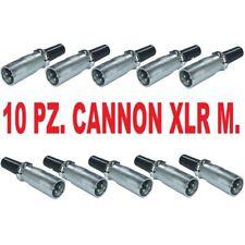 10 PZ. CONNETTORI CANNON XLR MASCHIO 3P BILANCIATI microfonici casse * A SALDARE