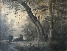Louis Noirot (1820-1902) Grand fusain fixé berger et chèvre  57 cm par 43,5 cm