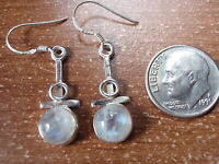 Blue Moonstone Earrings 925 Sterling Silver Round Dangle Oval Corona Sun Jewelry