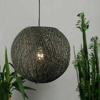 Rattan Wicker Globe Design Grey Pendant Light Shades Easy Fit Home Lighting