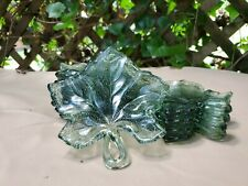 12 Vintage Glass Green Pebble Leaf Small Dish/App Plate with handles