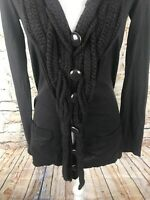 Anthropologie Leifsdottir  Brown Knot Knit Cardigan Ruffle Sweater Size Small