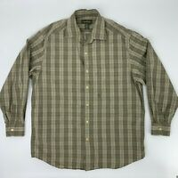 Ermenegildo Zegna Button Up Shirt Men's Size L Long Sleeve Casual Collared Plaid
