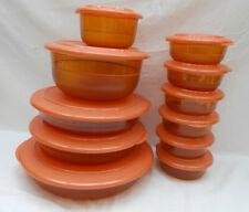 More details for vintage orange / amber tupperware storage dishes & lids
