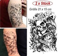 Totenkopf Schädel Tattoo-Bogen mit Rosentotenkopf Temporär Einmal Tattoo 21x15cm