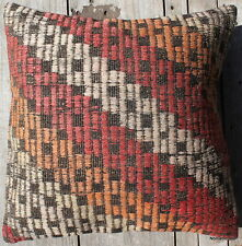 (45*45CM, 18 INCH) Boho handwoven kilim cushion cover rustic orange red white #2