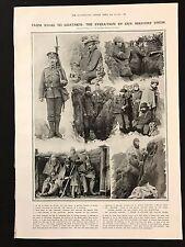 1915 Original Newspaper Illustration, Evolution of our Soldier's Dress, WW1