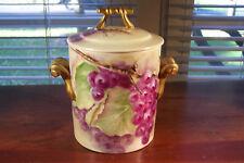 Antique GDA HP Porcelain Limoges France Condensed Milk Jar Container Grapes