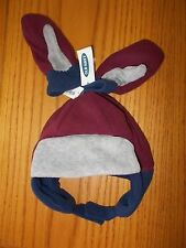Boys Size L (3T-5T) Old Navy Brand Maroon & Gray Fleece Hat W/Matching Mittens