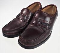 8.5D Florsheim Comfortech Maroon Leather Slip-On Moc Toe Loafers Mens Retro