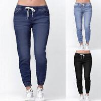 ZANZEA Femme Pantalon Taille elastique Jean Bande élastique Coupe slim Longue