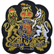 Royal Coat of Arms Embroidered Patch Iron / Sew On Badge UK British Gold Crown