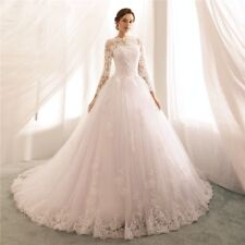 Sheer Lace Appliques Princess Wedding Dresses Long Sleeves Bridal Ball Gowns